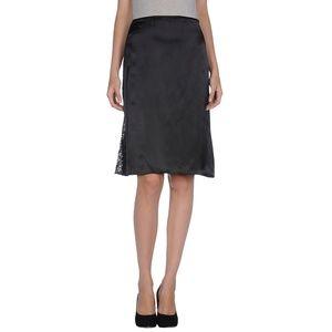 Black Silky Lace Insert Knee Length A Line Skirt